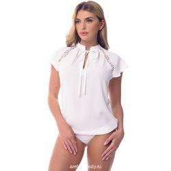 Рубашка боди с коротким рукавом и кружевными вставками